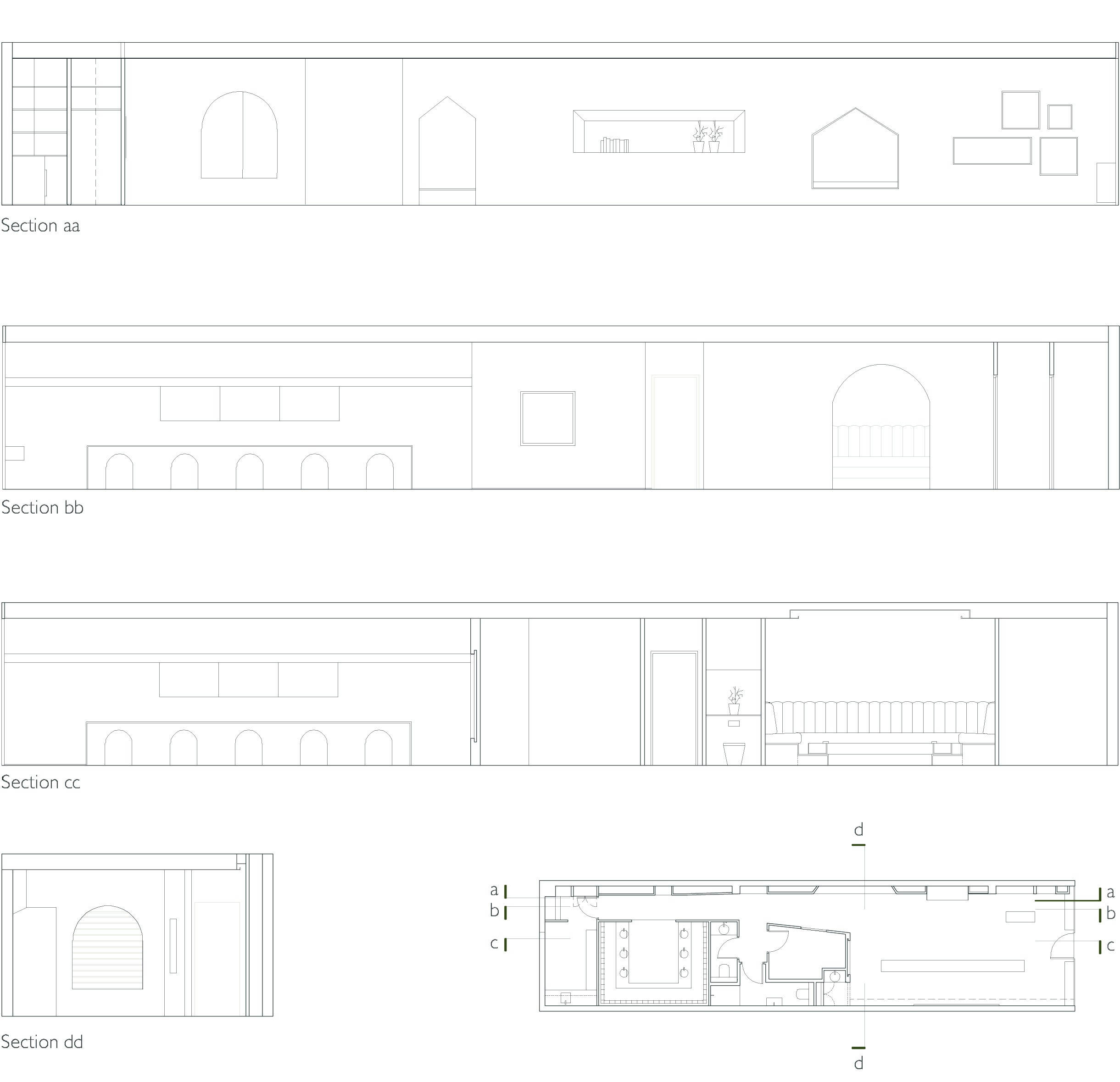 Sections Drawings of the Nail Salon